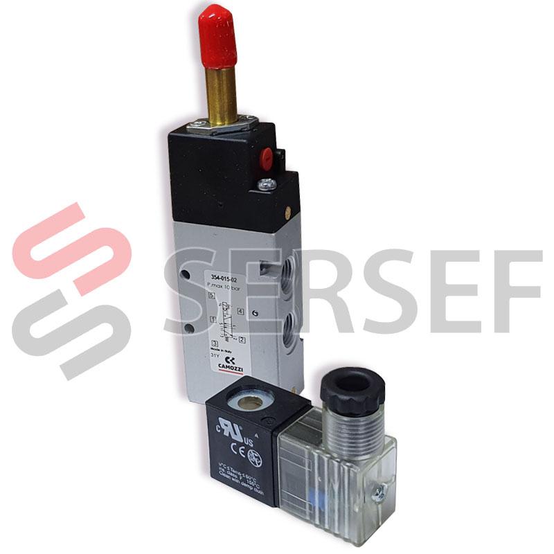 ELECTROVALVULA 354-E15-02 5/2 1/4 (INCLUYE BOBINA Y CONECTOR)  MARCA CAMOZZI